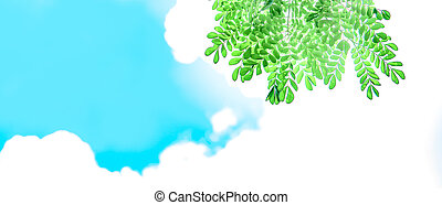Green leaves with sunshine and beautiful blue sky and white clouds background with copy space for text.