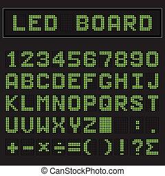 Green LED digital english uppercase font, number and mathematics symbol display on black background