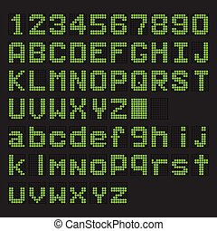 Green LED digital english uppercase, lowercase font, number display on black background