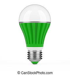 Green LED lamp isolated on white background.