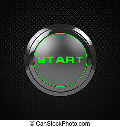 Green LED start button on black bac