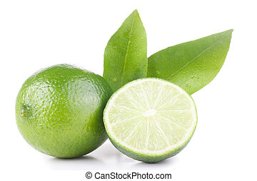 green lemon and leaves