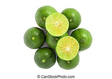Green lemon isolated background