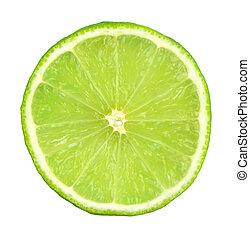 Green lemon sliced, on white background