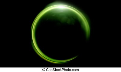 green Lens ring flares crossing of circle shape
