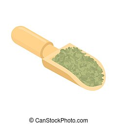 Green Lentils in wooden scoop isolated. Groats in wood shovel. Grain on white background. Vector illustration