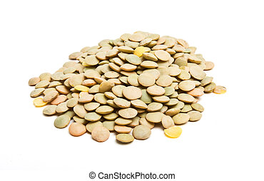 Pile of green lentils from low perspective isolated on white.