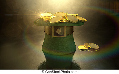A green material leprechaun hat with a brown leather band emblazened with a gold shamrock and buckle filled with gold coins on a dark spotlit background