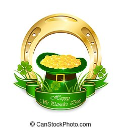 Green leprechaun hat with coins and golden horseshoe