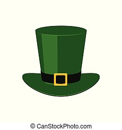 Green leprechaun top hat - traditional symbol of St Patrick Day in flat style.