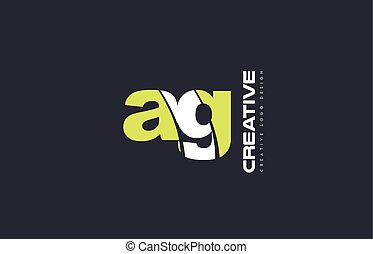 green letter ag a g combination logo icon company design...