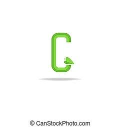 Green letter G logo, eco concept icon, ecology design element
