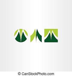 green letter m logo set vector