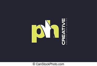 green letter ph p h combination logo icon company design...