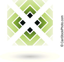 Green Letter X Icon with Square and Triangles Vector Illustration
