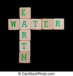 Green letters on old wooden blocks (earth, water)