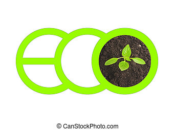 Green letters spelling ECO and top view of small sprout growing from the ground isolated on white background