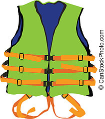 design of green life jacket for safety life in water