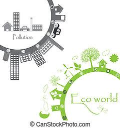 green life vs. pollution illustration on white
