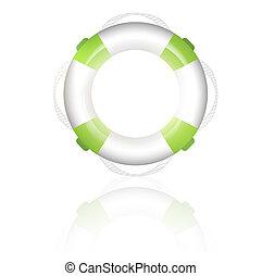 lifebuoy - green lifebuoy over white background