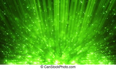 green light beams and particles
