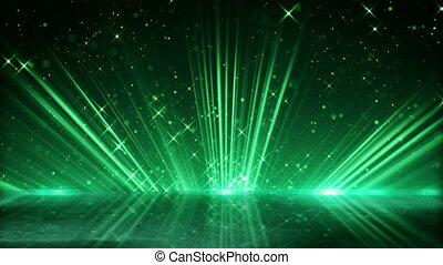 green light beams and shimmering particles loopable background
