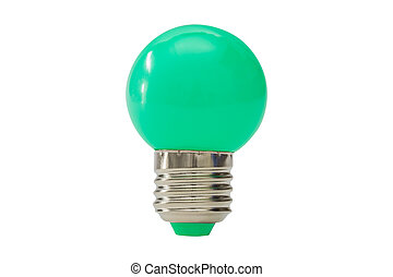 Green light bulb isolated on white background