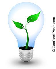 Green light bulb - Light bulb with a growing plant inside