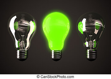 Green light bulb - Three bulbs with one glowing in middle