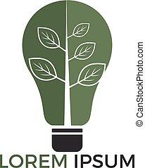 Green light bulb tree symbol logo vector. Logo of green energy.