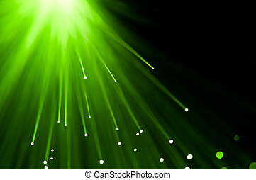Green light burst. - Abstract green fibre optic lights...