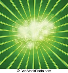 Green light burst with shiny light background