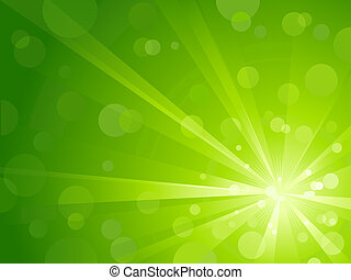 Green light burst with shiny light