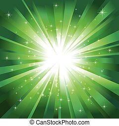 Green light burst with sparkling stars