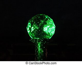 Green light in prism ball