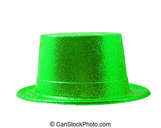 Green light party hat isolated on white with clipping path.