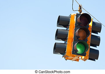 Green light traffic signal with copy space