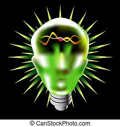 Green Lightbulb Head