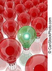 Green lightbulb surrounded by red light bulbs