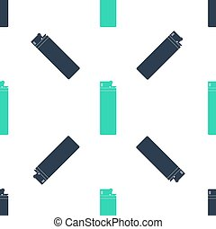 Green Lighter icon isolated seamless pattern on white background. Vector