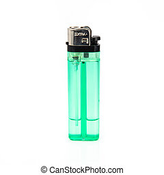 Green lighter isolated over white background