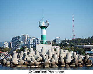 Green lighthouse with birds on a pier in the sea