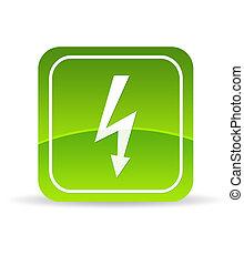 Green lightning bolt Icon - High resolution green lightning...