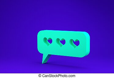 Green Like and heart icon isolated on blue background. Counter Notification Icon. Follower Insta. Minimalism concept. 3d illustration 3D render
