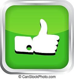 Green like icon on a white backgrou