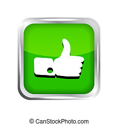 Green like icon on a white background