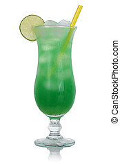 Green lime cocktail drink isolated