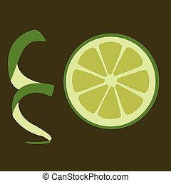 green lime - slice of green lime on the dark background