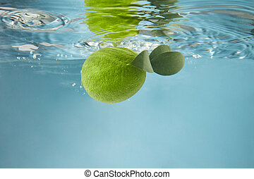 Green lime in water on a blue background