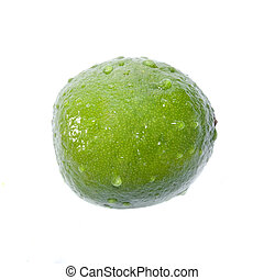 green lime with water drops isolated on white
